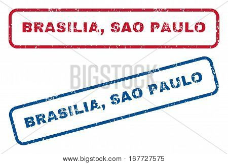 Brasilia, Sao Paulo text rubber seal stamp watermarks. Vector style is blue and red ink caption inside rounded rectangular shape. Grunge design and dust texture. Blue and red signs.