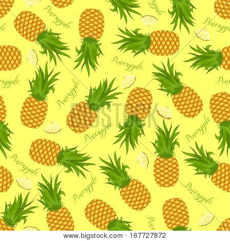 Seamless Background Of Whole Pineapples And Pineapple Slices. Pattern.