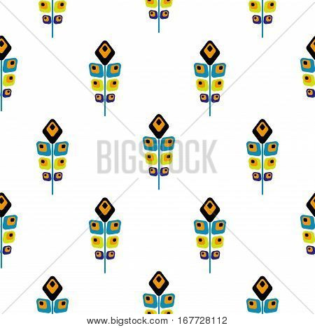 Peacock bright abstract feather seamless vector pattern. Peafowl feathers tileable print for textile or wrap paper.