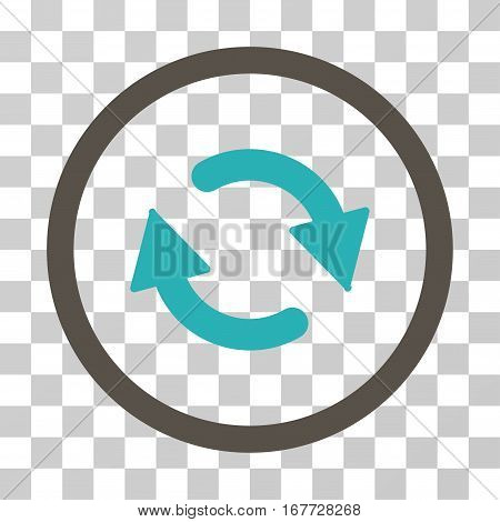 Refresh rounded icon. Vector illustration style is flat iconic bicolor symbol inside a circle grey and cyan colors transparent background. Designed for web and software interfaces.