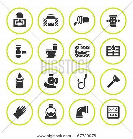 Set round icons of sewerage isolated on white. Vector illustration