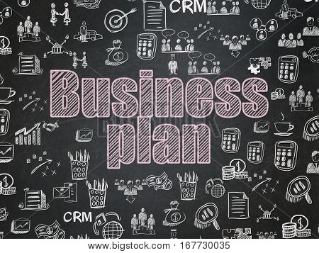 Business concept: Chalk Pink text Business Plan on School board background with  Hand Drawn Business Icons, School Board