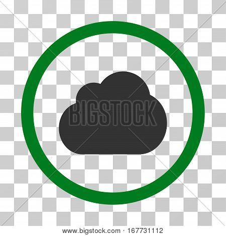 Cloud rounded icon. Vector illustration style is flat iconic bicolor symbol inside a circle green and gray colors transparent background. Designed for web and software interfaces.