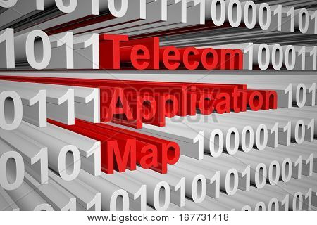 Telecom Application Map in the form of binary code, 3D illustration