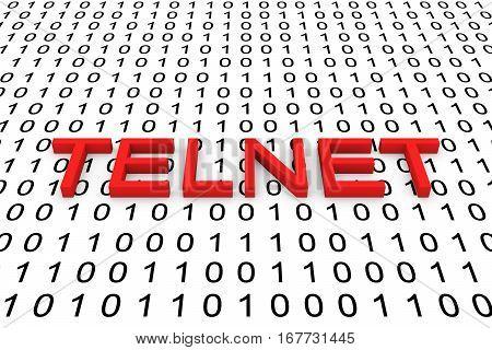 TELNET in the form of binary code, 3D illustration