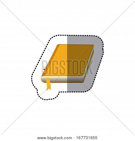middle shadow color sticker with book with cover and yellow ribbon vector illustration