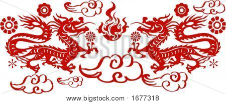 Dragon In Paper Cutting Style