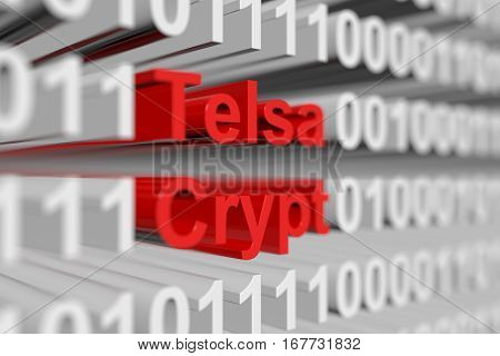 TeslaCrypt in the form of a binary code with blurred background 3D illustration