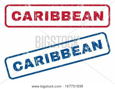 Caribbean text rubber seal stamp watermarks. Vector style is blue and red ink tag inside rounded rectangular shape. Grunge design and dust texture. Blue and red stickers.
