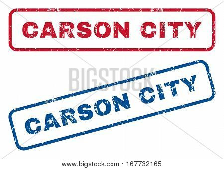 Carson City text rubber seal stamp watermarks. Vector style is blue and red ink tag inside rounded rectangular shape. Grunge design and dirty texture. Blue and red signs.