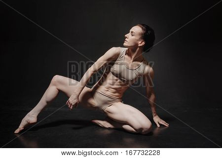Art of dance. Involved flexible proficient ballet dancer performing in the studio and expressing emotions while showing her skills