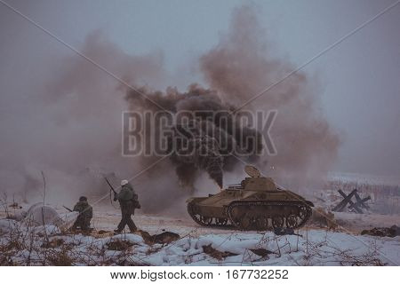 Leningrad oblast , Russia - January 29, 2017, historical reenactment of breaking the siege of Leningrad during the great Patriotic war