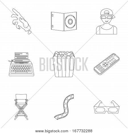 Films and cinema set icons in outline style. Big collection of films and cinema vector symbol stock