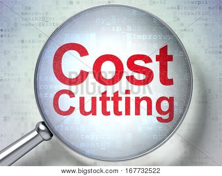 Business concept: magnifying optical glass with words Cost Cutting on digital background, 3D rendering