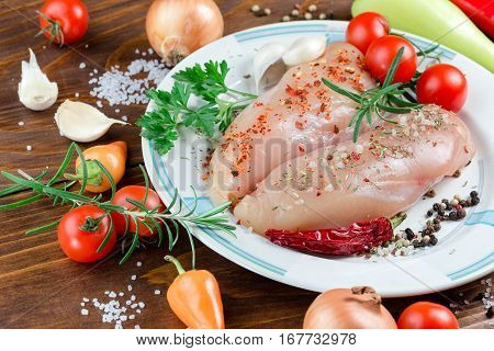 Chicken breast - raw breast, chicken white meat on white plate close up