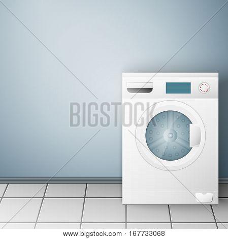 Wash machine on light background. Vector illustration, EPS 10