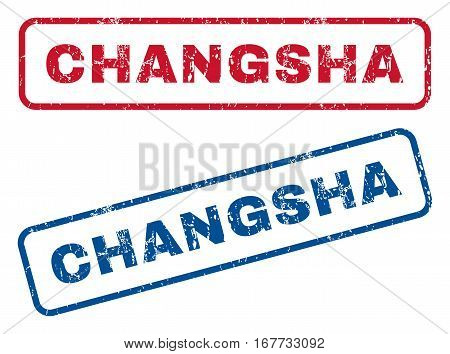 Changsha text rubber seal stamp watermarks. Vector style is blue and red ink caption inside rounded rectangular banner. Grunge design and dirty texture. Blue and red emblems.