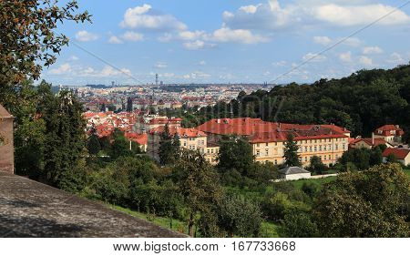 City of Prague - Southeast view of Prague from west of Vltava River on Úvoz, one of Prague's oldest streets.