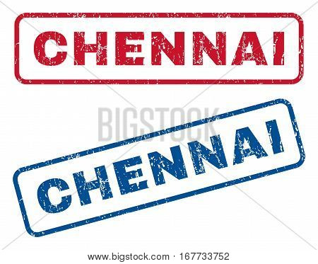 Chennai text rubber seal stamp watermarks. Vector style is blue and red ink tag inside rounded rectangular banner. Grunge design and dirty texture. Blue and red stickers.