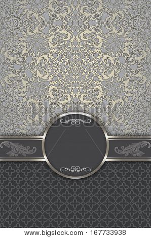 Vintage background with decorative borderframe and old-fashioned elegant patterns.