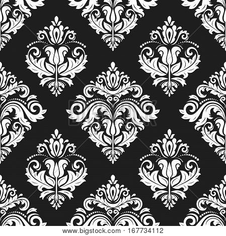 Seamless damask pattern. Traditional classic orient ornament. Black and white pattern