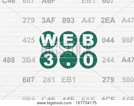 Web development concept: Painted green text Web 3.0 on White Brick wall background with Hexadecimal Code