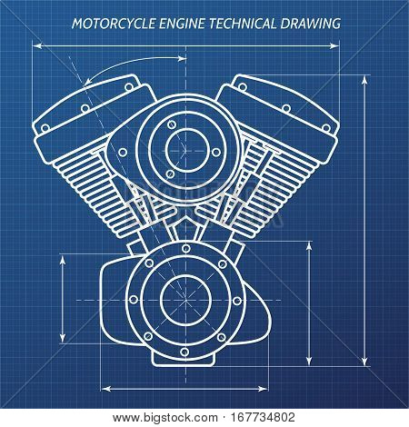 Technical drawings of motorcycle engine. Motor engineering concept. Vector illustration.