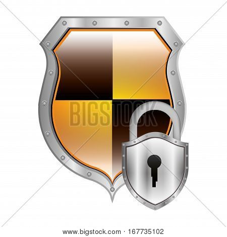 metallic emblem with colorful rhombus shape with padlock vector illustration