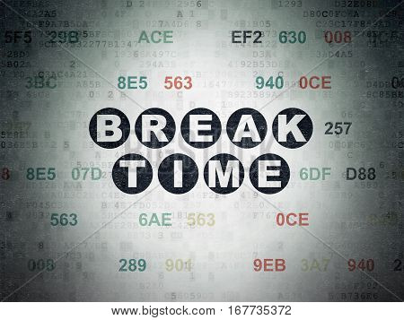 Time concept: Painted black text Break Time on Digital Data Paper background with Hexadecimal Code