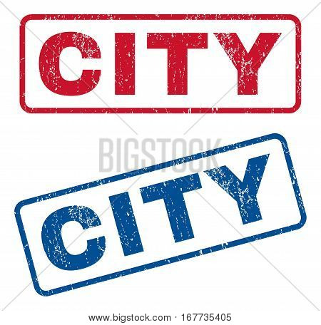 City text rubber seal stamp watermarks. Vector style is blue and red ink tag inside rounded rectangular banner. Grunge design and scratched texture. Blue and red stickers.