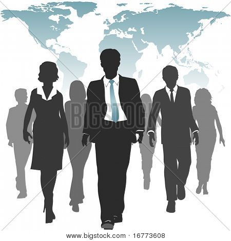 International work force of business people walks forward under a world map.
