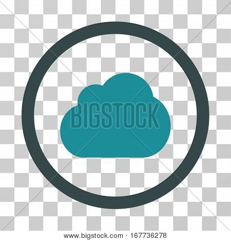 Cloud rounded icon. Vector illustration style is flat iconic bicolor symbol inside a circle soft blue colors transparent background. Designed for web and software interfaces.