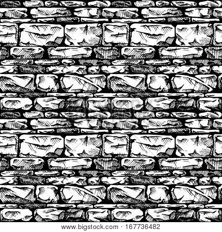 Coursed ashlar. Seamless black and white pattern of grunge stone wall. Vector illustration texture in ink hand drawn style.