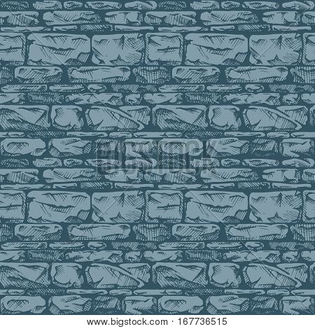 Coursed ashlar. Seamless pattern of grunge stone wall. Vector illustration texture in ink hand drawn style.