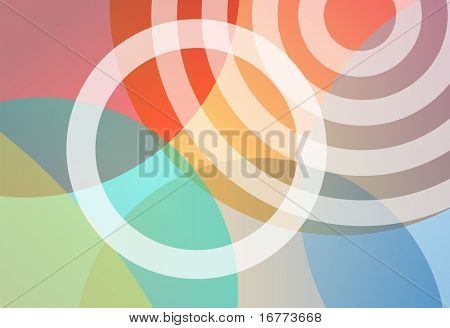 An abstract background of gradient transparency circles in bright colors.
