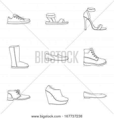 Shoes set icons in outline style. Big collection of shoes vector symbol stock