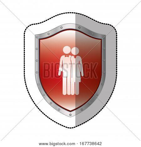 sticker metallic shield with pictogram husband and wife embraced vector illustration