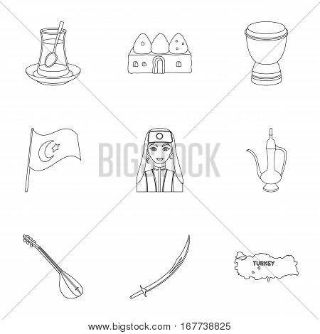Turkey set icons in outline style. Big collection of Turkey vector symbol stock