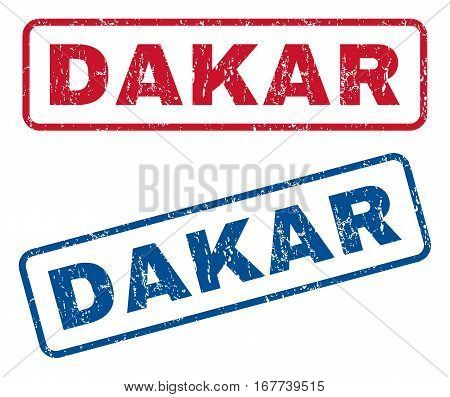 Dakar text rubber seal stamp watermarks. Vector style is blue and red ink caption inside rounded rectangular banner. Grunge design and scratched texture. Blue and red signs.
