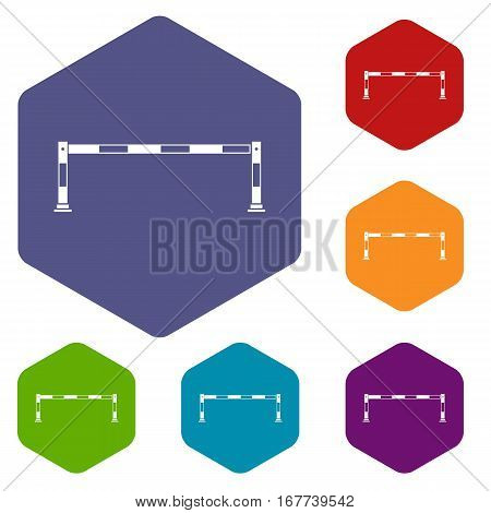 Barrier icons set rhombus in different colors isolated on white background