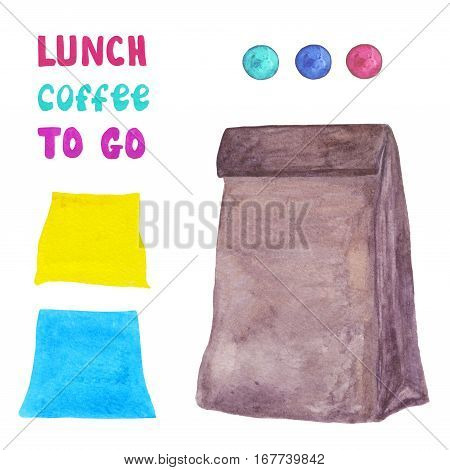 Craft paper bag set with taps and stickers. Collect your own lunch bag.