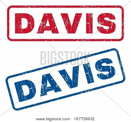 Davis text rubber seal stamp watermarks. Vector style is blue and red ink caption inside rounded rectangular shape. Grunge design and scratched texture. Blue and red stickers.