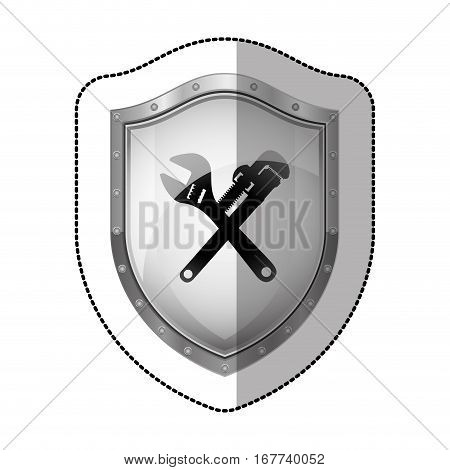 sticker metallic shield with silhouette crossed wrenches vector illustration