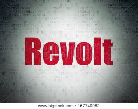 Politics concept: Painted red word Revolt on Digital Data Paper background