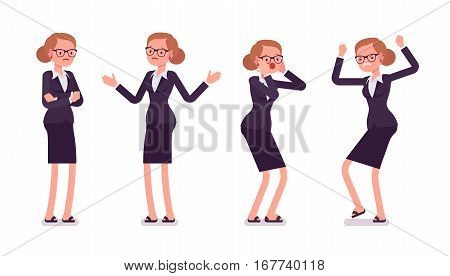 Set of young businesswoman in formal wear, expressing negative emotions, standing poses, her hands crossed, puzzled, troubled, afraid, stamping her feet, full length, isolated against white background
