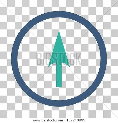 Arrow Axis Y rounded icon. Vector illustration style is flat iconic bicolor symbol inside a circle cobalt and cyan colors transparent background. Designed for web and software interfaces.