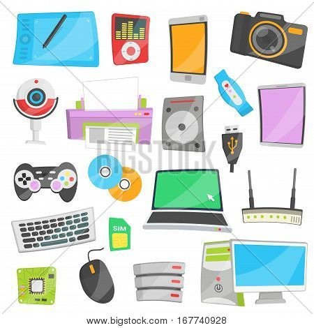 Collection of bright cartoon vector illustrations for various IT and electronic devices and appliances. Networking, data storage and modern personal devices.