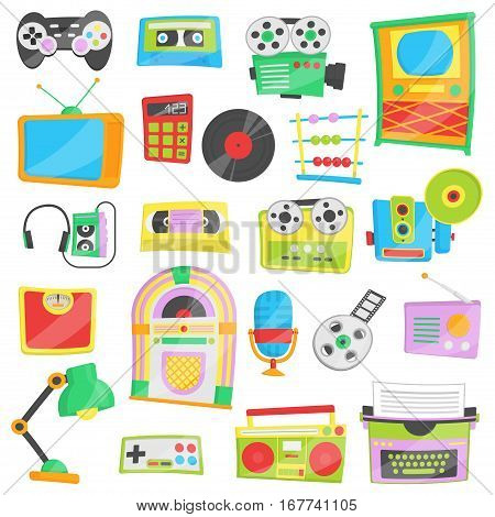 Collection of bright cartoon vector illustrations for various retro, vintage, hipster personal devices and household appliances. Old school entertainment and innovations.