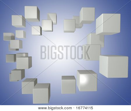 Cloud of data cubes boxes float on a bright blue copy space background poster