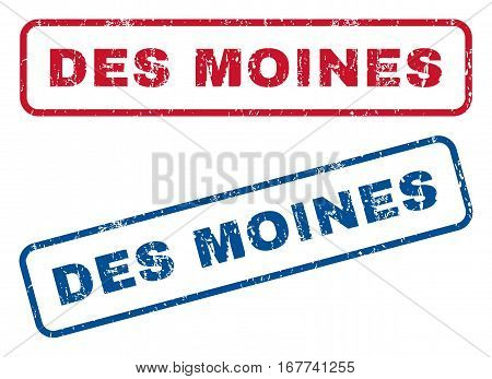 Des Moines text rubber seal stamp watermarks. Vector style is blue and red ink caption inside rounded rectangular banner. Grunge design and dust texture. Blue and red stickers.